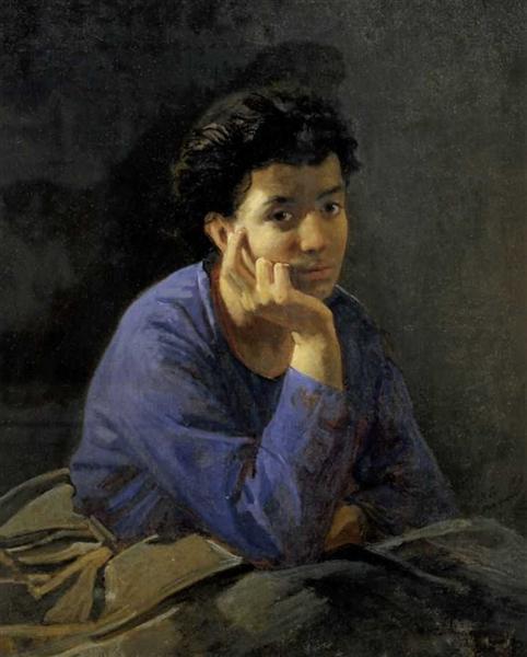 Портрет неизвестной в голубой блузе, 1868 - Николай Ге