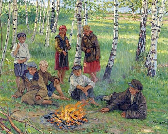 By the Campfire - Nikolay Bogdanov-Belsky