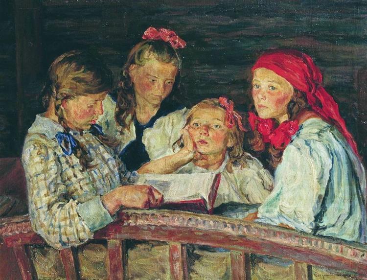 Reading a book, 1915 - Nikolay Bogdanov-Belsky - WikiArt.org