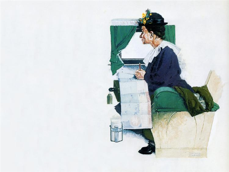 Airplane Trip - Norman Rockwell