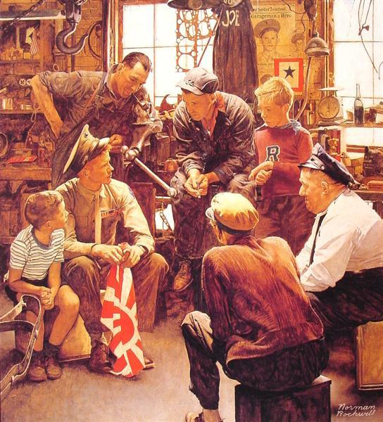 Christmas Homecoming Rockwell.Homecoming Marine 1945 Norman Rockwell Wikiart Org
