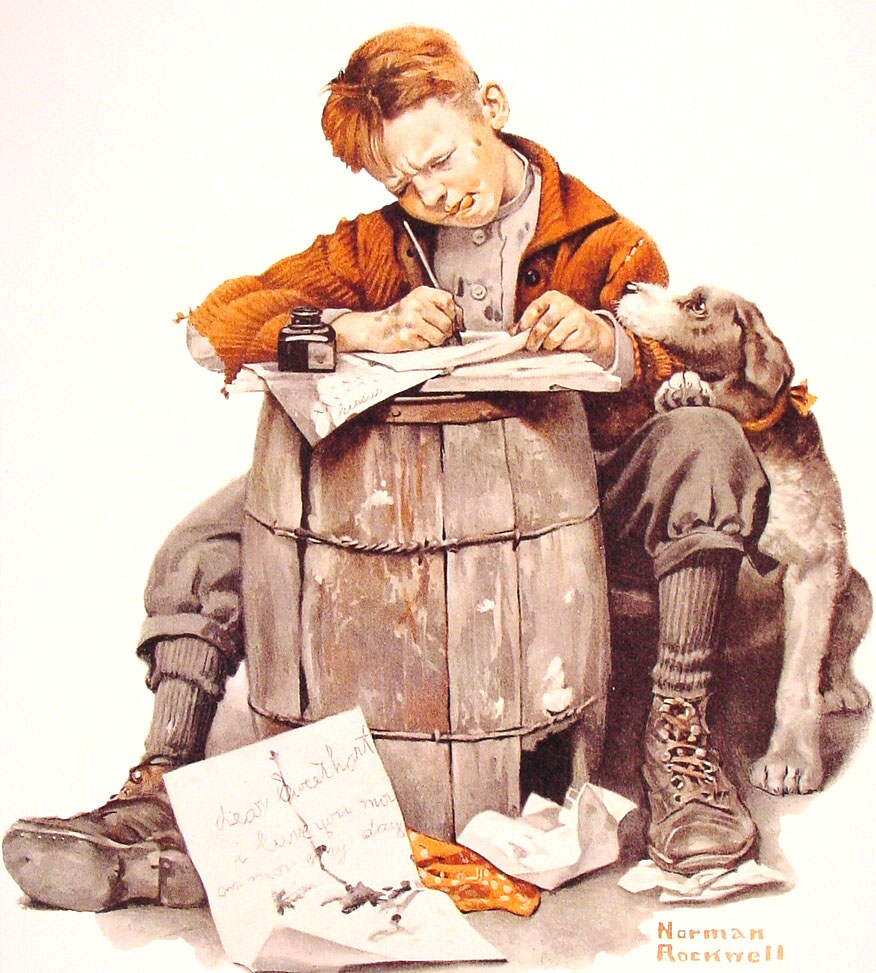 little boy writing a letter 1920   norman rockwell