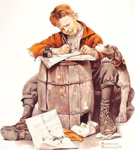 Little boy writing a letter - Norman Rockwell