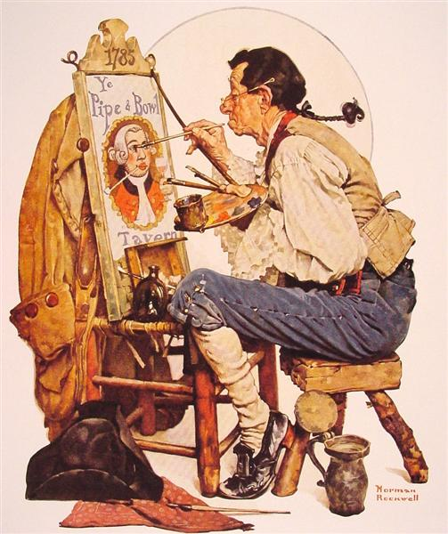 Pipe and Bowl sign Painter, 1926 - Norman Rockwell