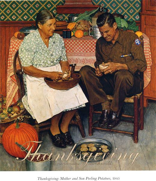 Thanksgiving Mother and Son Peeling Potatoes, 1945 - Norman Rockwell