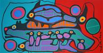 Bear, Bird, Fish and Chicks - Norval Morrisseau