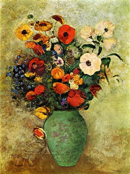 Bouquet Of Flowers In A Green Vase C 1907 Odilon Redon
