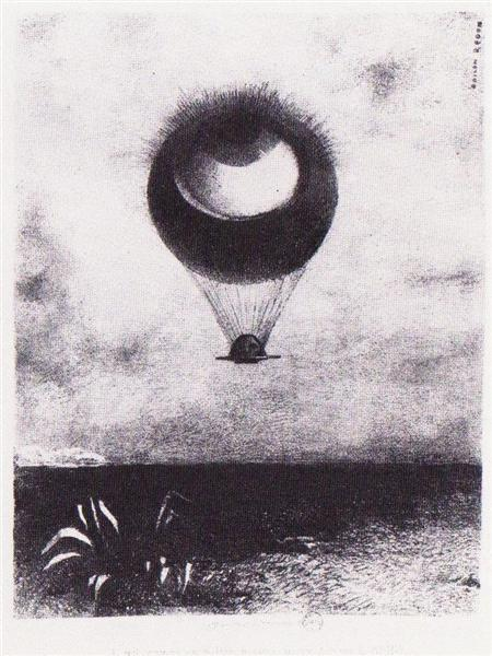 The eye like a strange balloon goes to infinity, 1882 - Odilon Redon