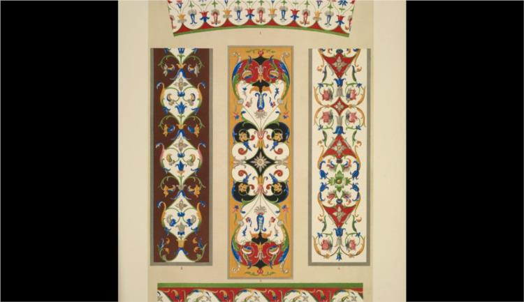 Italian Ornament no. 3. Ornaments from the Palazzo Ducale, and the Church of St. Andrea, Mantua - Owen Jones