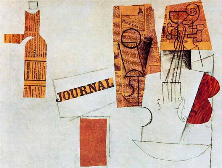 Bottle, glass, violin, 1912 - Pablo Picasso