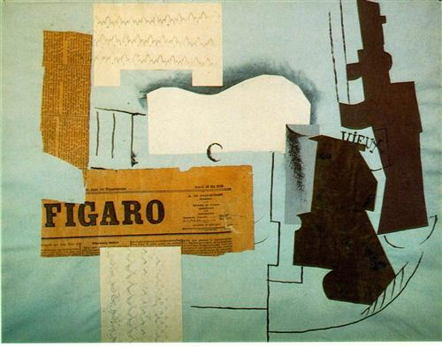Bottle of Vieux Marc, Glass, Guitar and Newspaper - Pablo Picasso