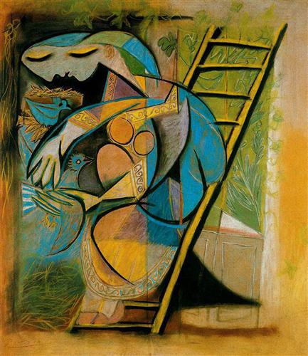 Farmer's wife on a stepladder - Pablo Picasso