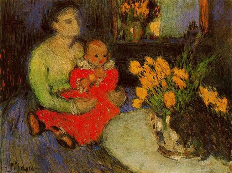 Mother and child behind the bouquet of flowers, 1901 - Pablo Picasso