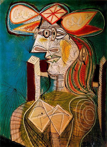 Seated woman on wooden chair, 1941 - Pablo Picasso