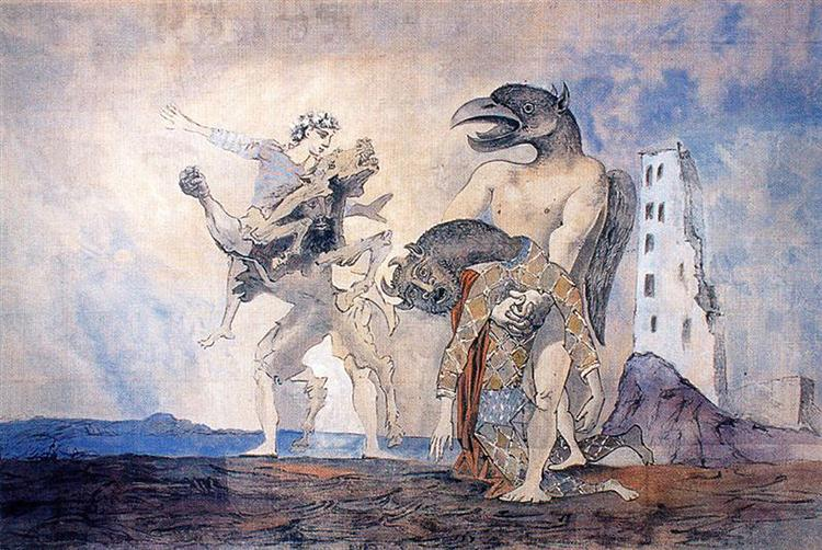 The Remains of Minotaur in a harlequin costume, 1936 - Pablo Picasso