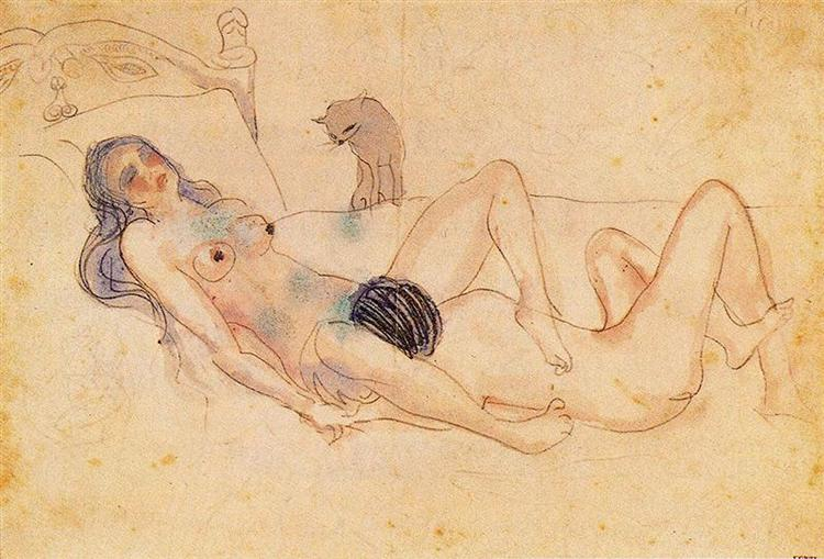 Two nudes and a cat - Picasso Pablo