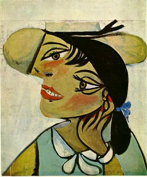 Portrait of woman in d`hermine pass (Olga) - Pablo Picasso