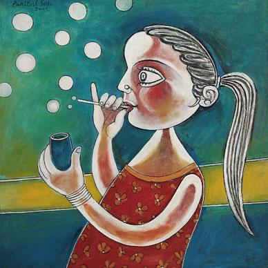 Young Girl Making Soap Bubbles, 2001 - Paritosh Sen