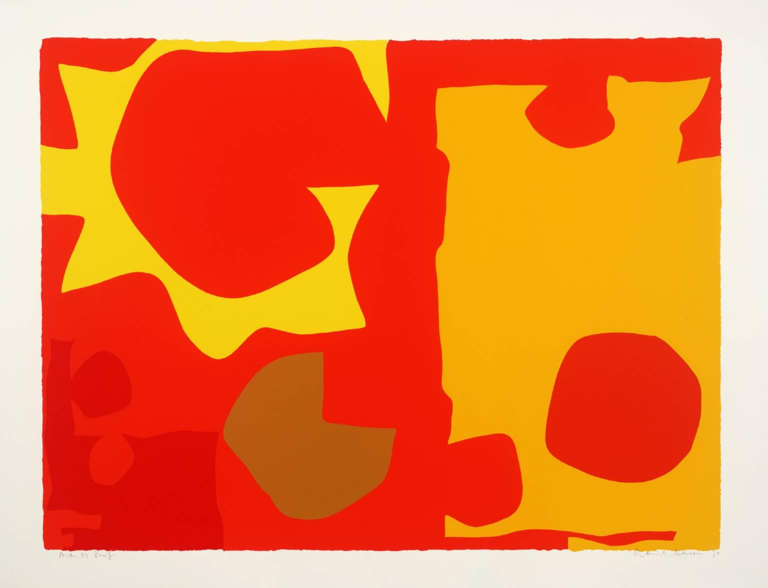 Patrick Heron Six in Light Orange with Red in Yellow Patrick Heron