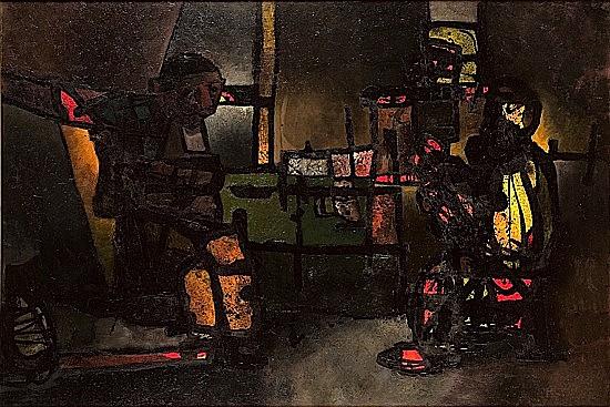 Rembrant devisant avec son ami le rabbin, le soir dans son atelier, 1964