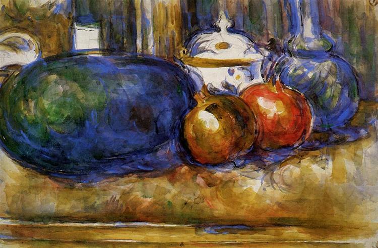 Still Life with Watermelon and Pemegranates, c.1906 - Paul Cezanne