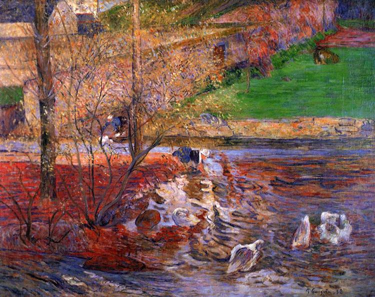 Landscape with geese, 1888 - Paul Gauguin