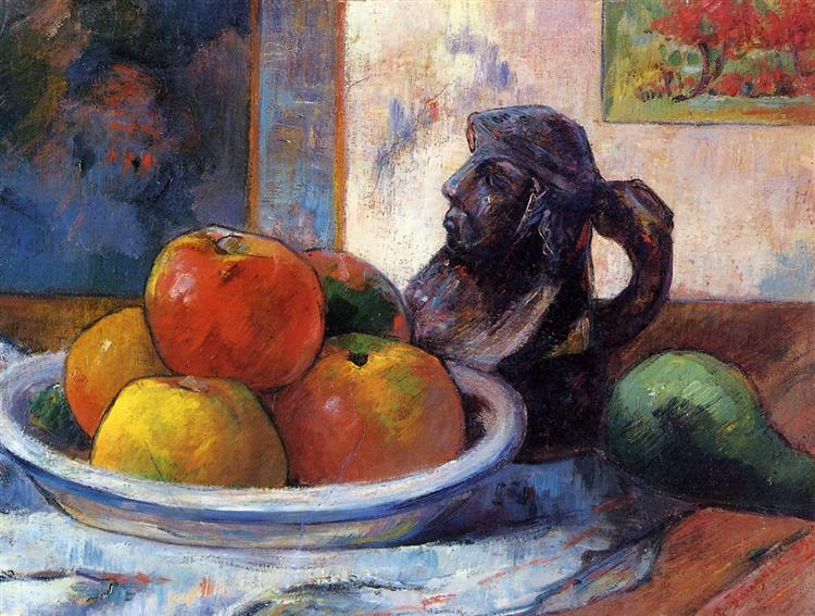 Still Life with Apples, a Pear and a Ceramic Portrait Jug, 1889 - Paul Gauguin