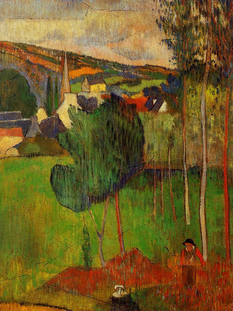 View Of Pont Aven From Lezaven 1888 Paul Gauguin
