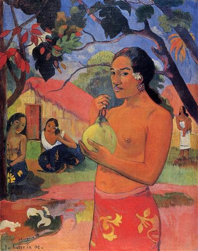 Woman Holding a Fruit - Paul Gauguin