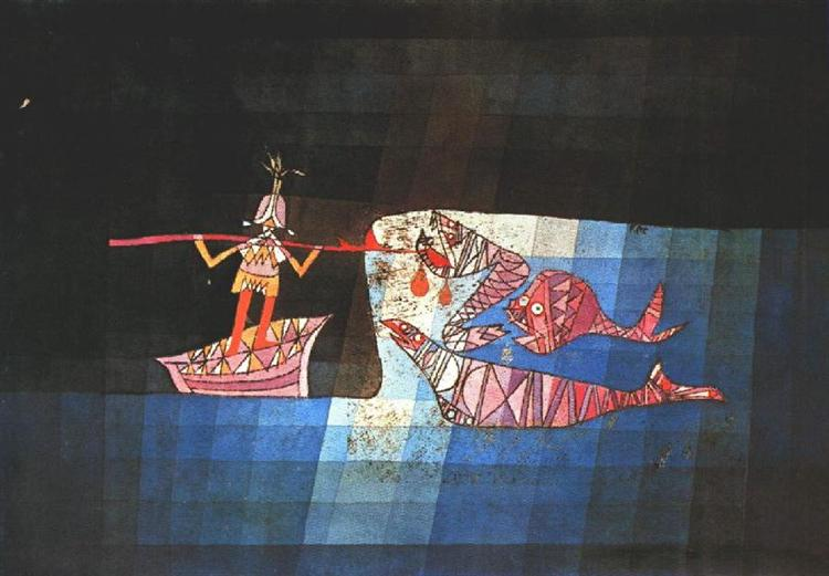 Battle scene from the comic fantastic opera 'The Seafarer', 1923 - Paul Klee