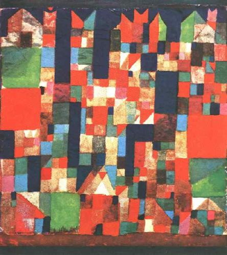 City Picture with Red and Green Accents by Paul Klee