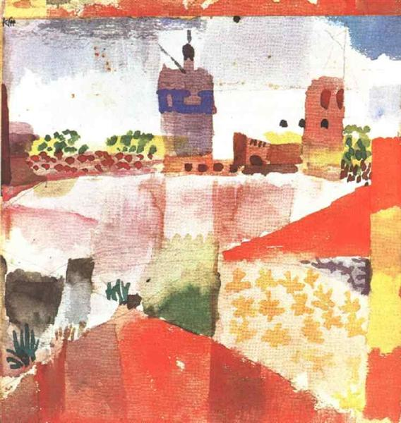 Hammamet with mosque, 1914 - Paul Klee
