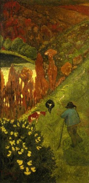 Shepherd in the Valley of Chateauneuf, 1917 - Paul Serusier