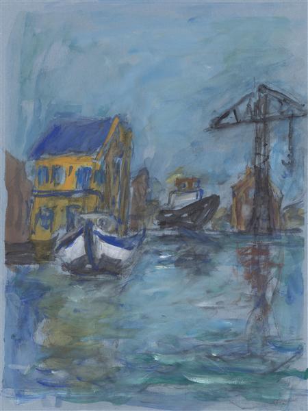Old ship-yard Groenland with crane at Wittenburg, Amsterdam, 2005 - Paul Werner