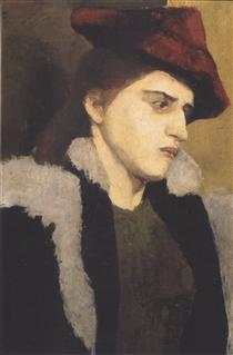 Portrait of a young woman with red hat - Paula Modersohn-Becker