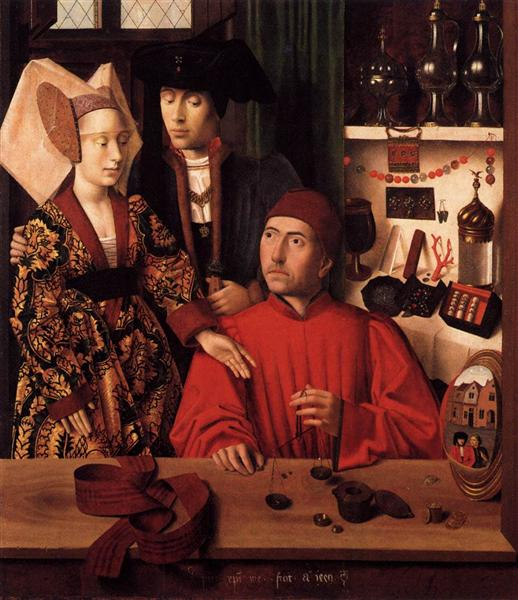 St. Eligius as a goldsmith showing a ring to the engaged couple - Petrus Christus