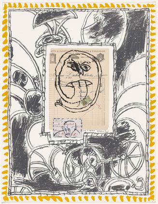 Plate IV from the portfolio Papiers Traités, 1978 - Pierre Alechinsky