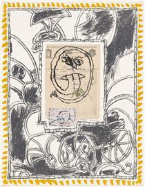 Plate IV from the portfolio Papiers Traités - Pierre Alechinsky