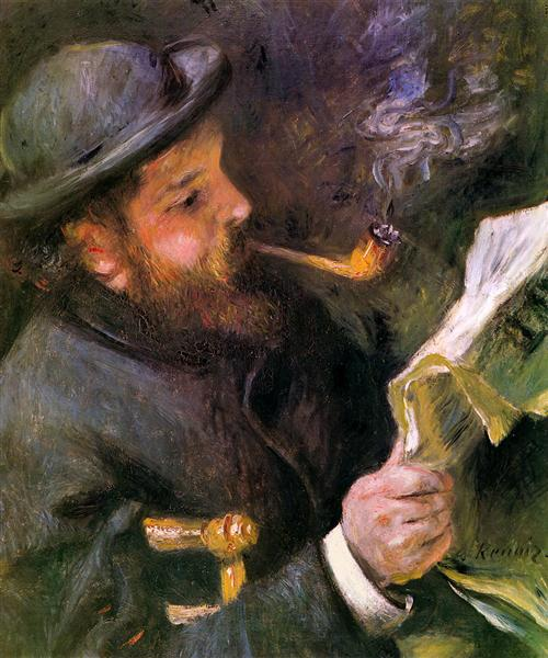 Claude Monet Reading - Renoir Pierre-Auguste