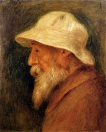 Self-Portrait with a White Hat - Pierre-Auguste Renoir
