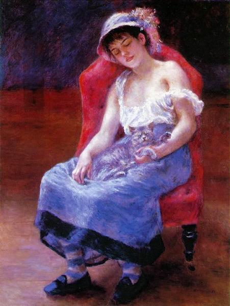 Sleeping Girl (Girl with a Cat), 1880 - Pierre-Auguste Renoir