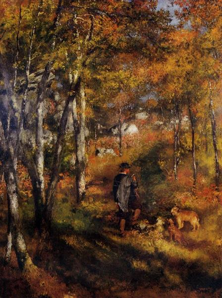 The Painter Jules Le Coeur Walking His Dogs in the Forest of Fontainebleau, 1866 - Pierre-Auguste Renoir