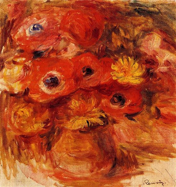 Vase of Anemones - Pierre-Auguste Renoir