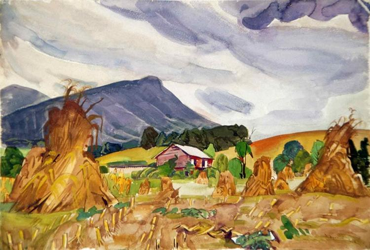 Corn Shocks and Jump Mountain, 1950 - Pierre Daura