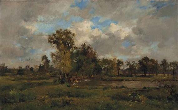 A Lake in a Clearing, 1883 - Pierre Emmanuel Damoye