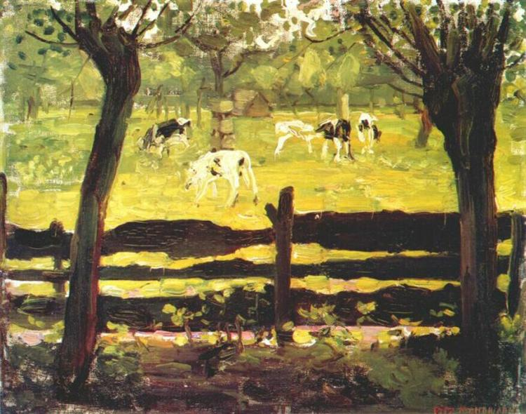 Calves in a Field Bordered by Willow Trees, 1905 - Piet Mondrian