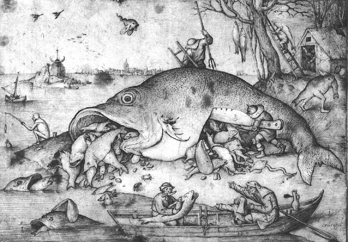 Big fishes eat small fishes, 1556 - Pieter Bruegel the Elder