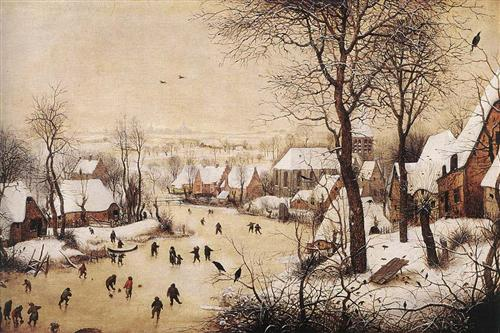 Winter Landscape with Skaters and a Bird Trap - Pieter Bruegel the Elder