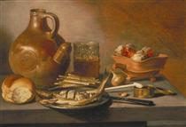 Still Life with Herring, Wine and Bread - Pieter Claesz