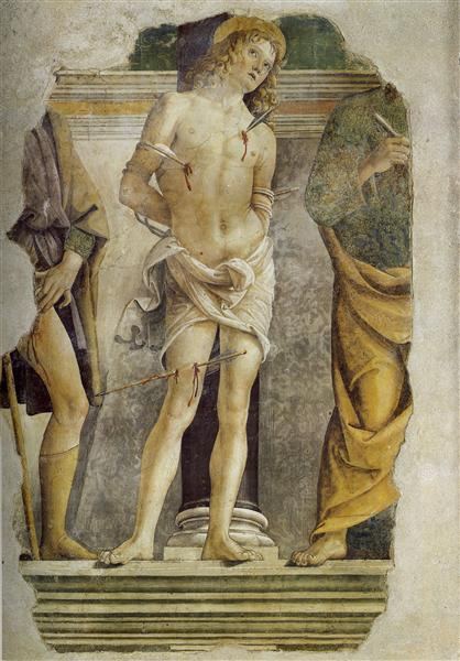 St. Sebastian and pieces of figure of St. Rocco and St. Peter - Pietro Perugino